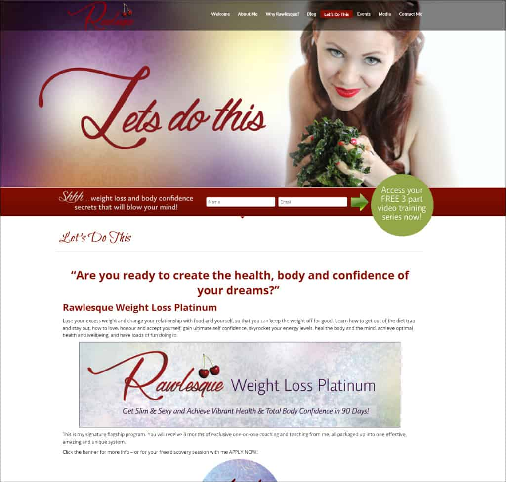 Web design for Rawlesque.com by Lucinda Rae of Prosperity Branding