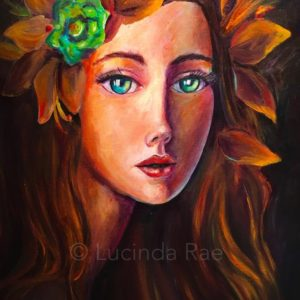 "Autumn Aphrodite, Original Painting by Lucinda Rae, 20"" x 24"""