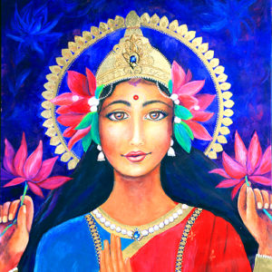 Goddess Lakshmi, Original Painting by Lucinda Rae, 24″ x 48″