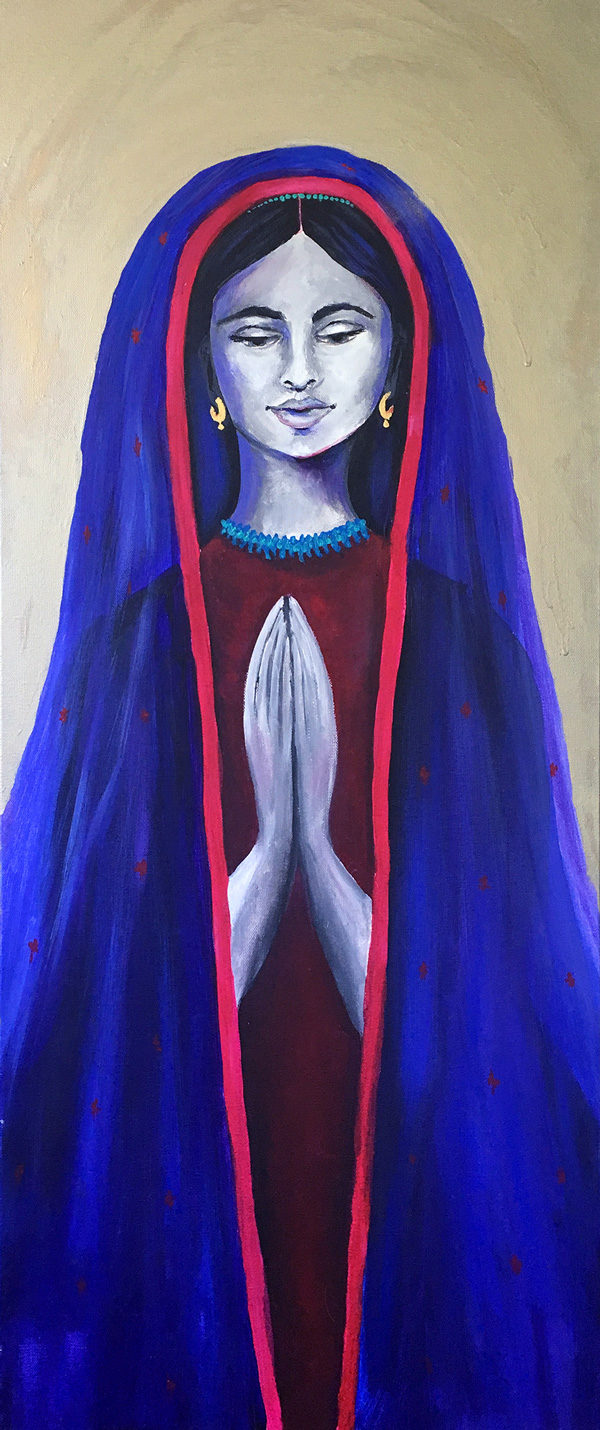 "Lady of Guadalupe, Original Painting + Mica, 16"" x 40"""
