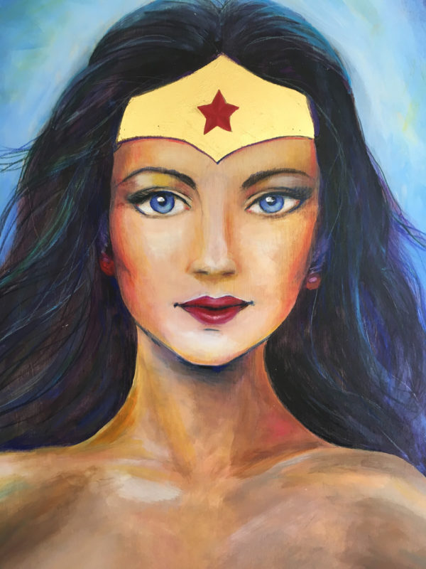 """I AM INDOMITABLE"" Wonder Woman, Original Painting + Gold Leafing on Birch Wood by Lucinda Rae, 24″ x 48″"