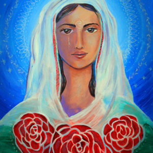 {SOLD} Tears of the Mystical Magdalene (Mariamne), Original Painting by Lucinda Rae, 24″x 36″