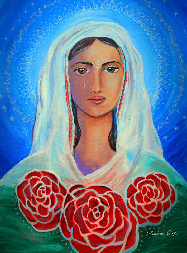 {SOLD} Tears of the Mystical Magdalene (Mariamne), Original Painting by Lucinda Rae, 24″ x 36″