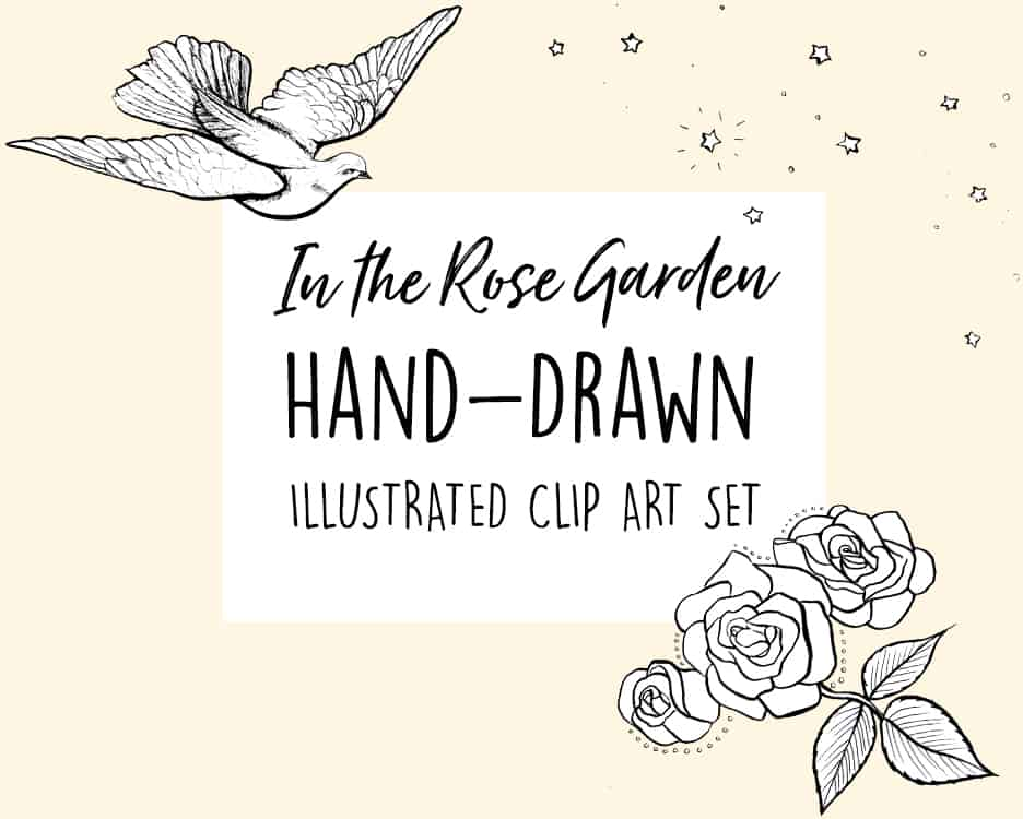 HAND-DRAWN CLIP ART SET - In the Rose Garden